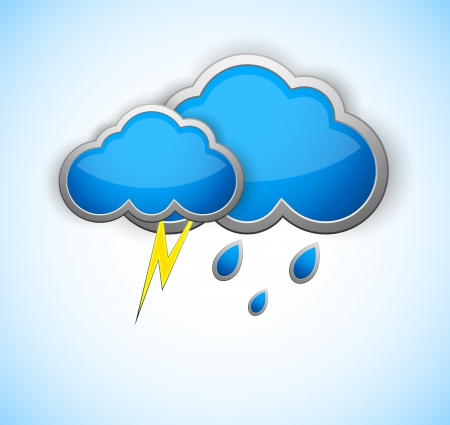 Weather icon with rain drops and lightning Vector