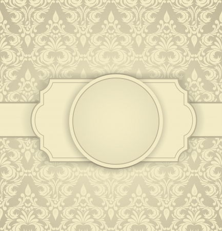 artwork backdrop: Invitation card with damask pattern and frame