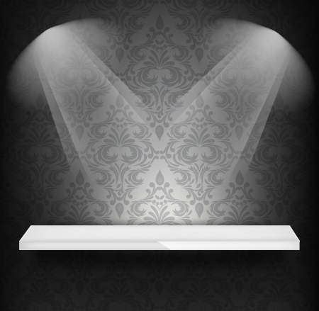 background black: White shelf on wall with damask pattern