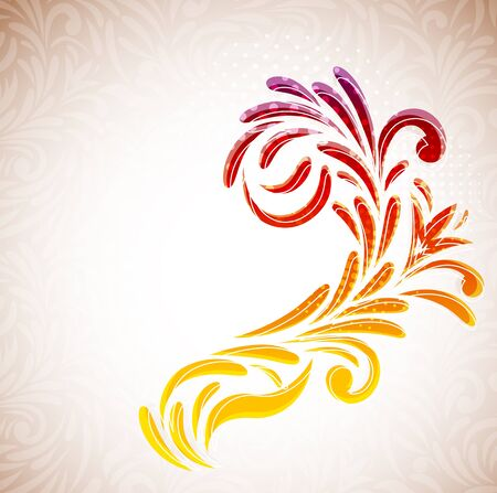 Floral branch on abstract background  Colorful illustration Vector