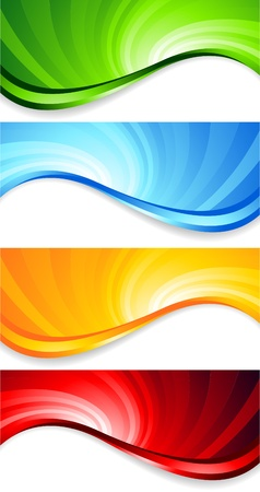 orange swirl: set of abstract swirl banners, clip-art