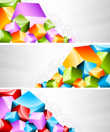 coloful: Set of banners with coloful cubes Illustration