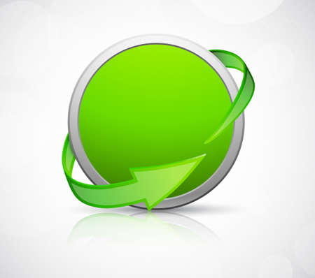 Abstract circle icon with arrows. Green sign Vector