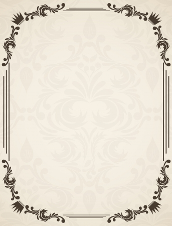Vintage frame with floral element and damask pattern Vector