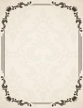 certificat diplome: Vintage frame with floral et de damass�
