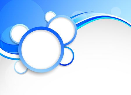 header design: Abstract blue background with circles. Colorful illustration.