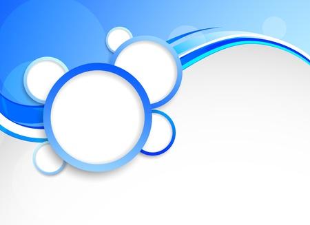 Astratto sfondo blu con cerchi. Illustrazione colorato.