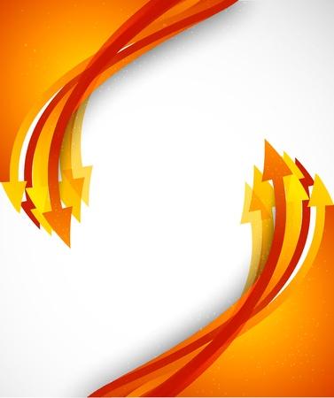 Bright background avec des flèches oranges. Illustration colorée