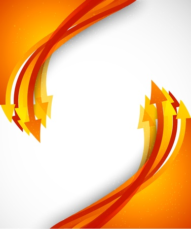 Bright background with orange arrows. Colorful illustration Vector