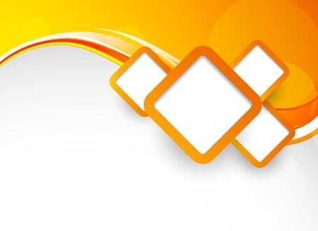 naranja: Fondo naranja brillante con cuadrados. Ilustración abstracta Vectores