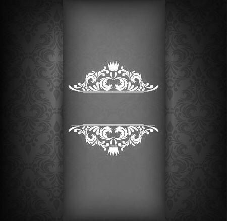 damask background: Damask design template in black color. Floral illustration Illustration