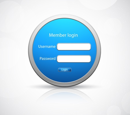 Login icon in metall style on gray background
