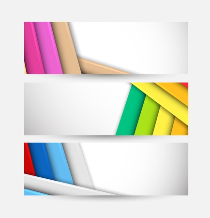 web banner: Set of stripes banners. Abstract colorful illustration Illustration