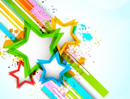 estrellas: Fondo brillante con estrellas de colores. Resumen illustrtaion