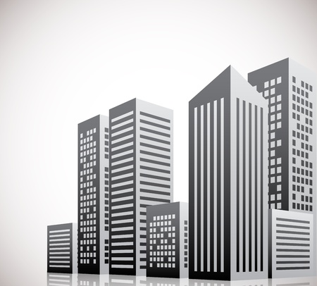 corporate building: Cityscape background with few skyscrapers. Abstract illustration