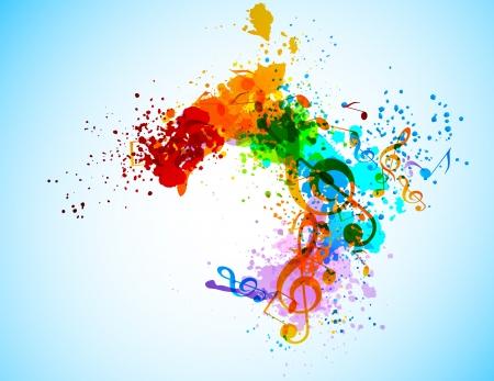 orange splash: Grunge music background. Abstract colorful illustration