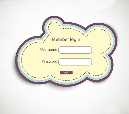 login form: Login page in retro style Illustration