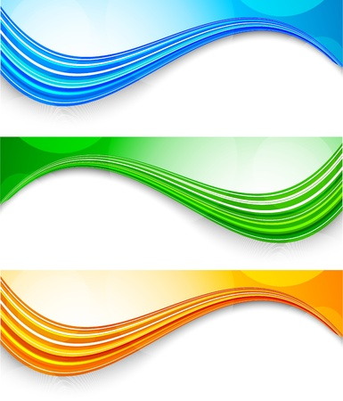 wawe: Set di banner tech. Abstract illustrazione colorata Vettoriali