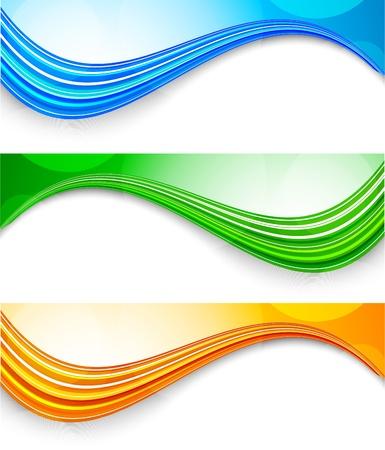 Set Tech-Banner. Abstrakte bunte Abbildung