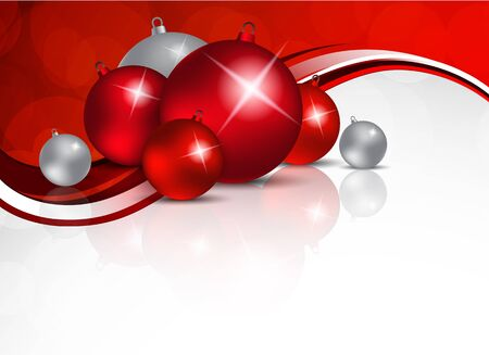 red sphere: Xmas background with red and silver balls Illustration