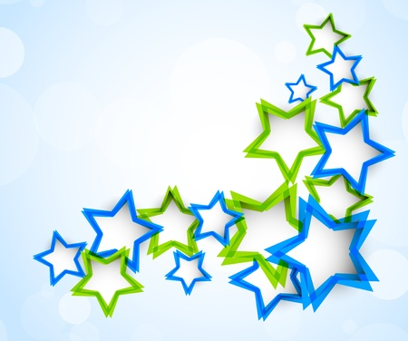 Background with green and blue stars Vector