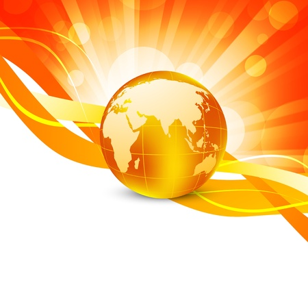 yellow earth: Orange background with globe. Abstract colorful illustration