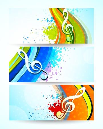 clef de fa: Ensemble de banni�res musique R�sum� illustration color�e