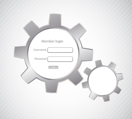 authentication: Login page with gears  Abstract illustration