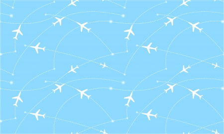 Seamless pattern with airplanes  Abstract illustration Vector