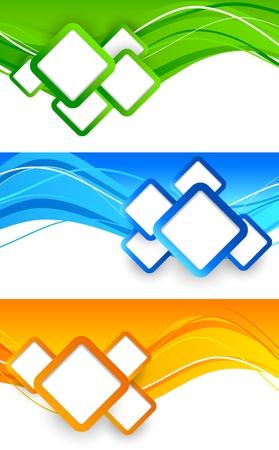 正方形の抽象的なイラストとバナーの設定