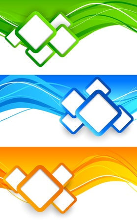 set square: Set of banners with squares  Abstract illustration