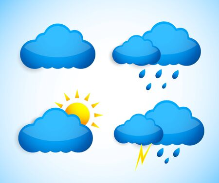 day forecast: Set of weather icons  Abstract illustration Illustration