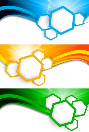 hexagon background: Set of banners with hexagons  Abstract illustration Illustration