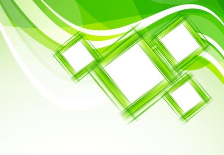 forme carre: Fond vert avec des carr�s R�sum� illustration Illustration