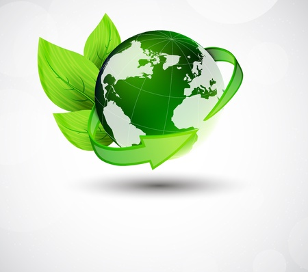 recycling plant: Ecology concept with earth, leaves and arrow Illustration