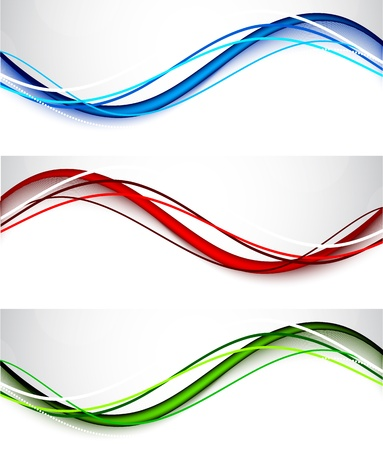 red line: Set of wavy banners  Abstract illustration