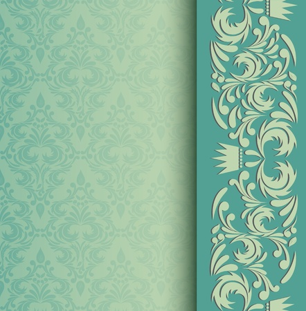 damask frame: Invitation card  Abstract background with damask pattern