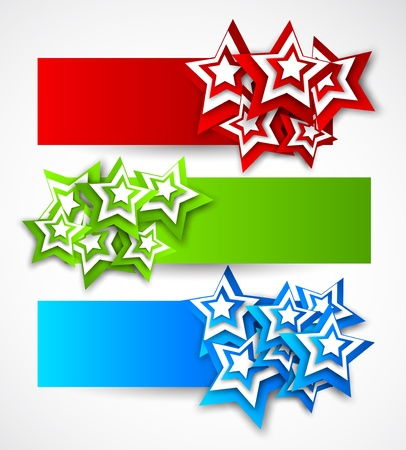 star shape: Set of banners with stars
