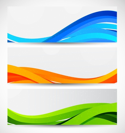 website header: Set of wavy banners  Abstract illustration