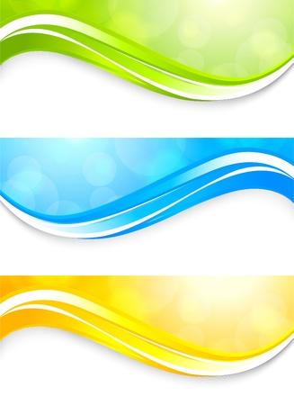 lineas onduladas: Conjunto de banners brillantes abstracta colorida ilustraci�n