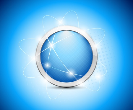orbital: Abstract blue button on blue background  Abstract illustration