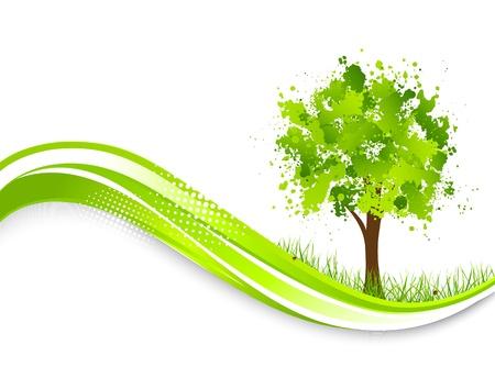 추상 녹색 나무의 봄 일러스트와 함께 배경 일러스트