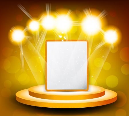 spotlight lamp: Astratto banner sul palco brillante sfondo giallo