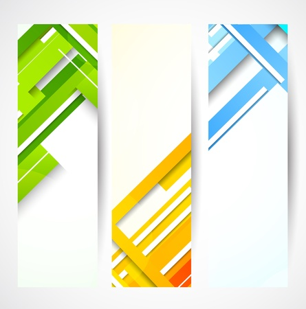 fondo geometrico: Conjunto de banderas con la ilustraci�n abstracta de l�neas