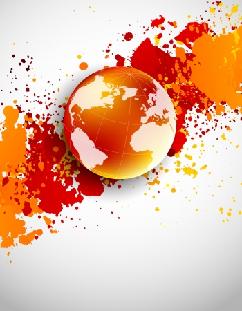 globe illustration: Abstract grunge background with globe in orange color