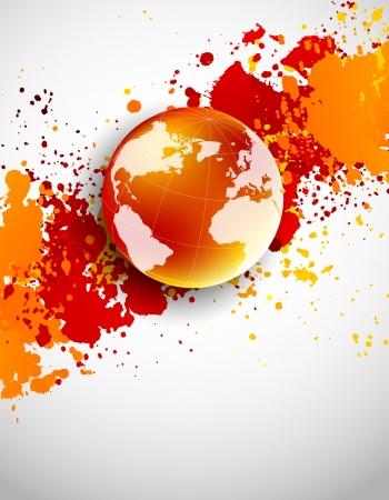Résumé grunge background avec un globe terrestre dans la couleur orange
