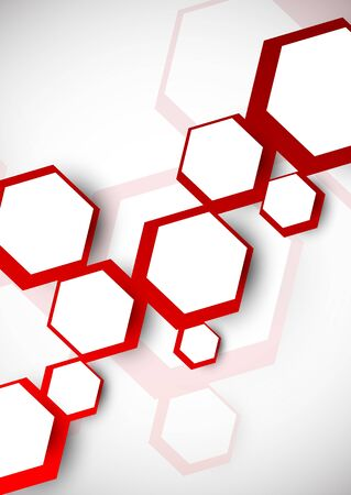 Background with red hexagons Abstract colorful illustration Vektorové ilustrace