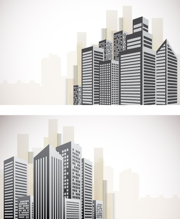 city buildings: Set of cityscape banners with skyscapers