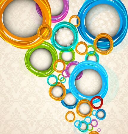 bright colors: Circles on floral background  Abstract colorful illustration