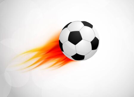 Soccer ball with flame  Abstract bright illustration Vector